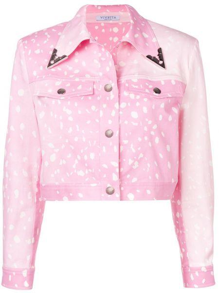 Джинсовая куртка розовая на пуговицах Vivetta