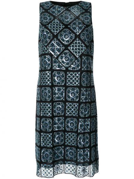 Czarna sukienka bez rękawów z haftem Elie Tahari