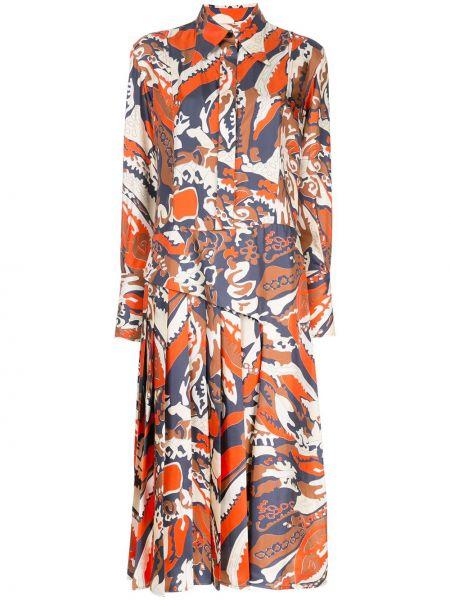 Платье миди платье-рубашка с абстрактным принтом Victoria Beckham