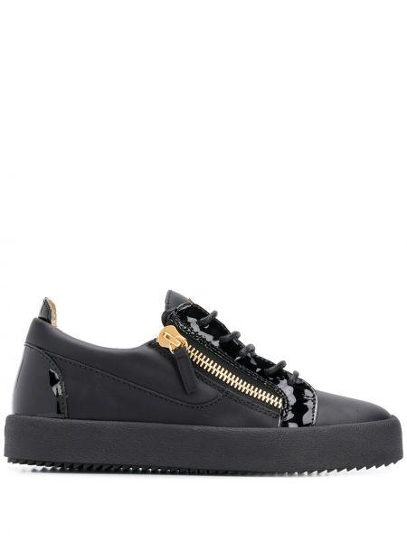 Skórzane sneakersy czarne Giuseppe Zanotti