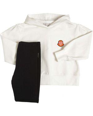 Prążkowane białe legginsy bawełniane Moncler