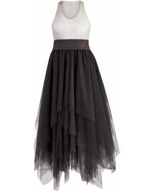Платье с поясом с декольте с бисером Brunello Cucinelli