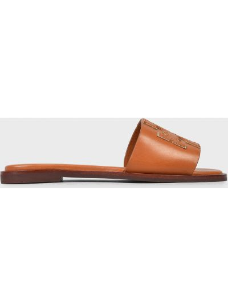 Кожаные шлепанцы - коричневые Tory Burch