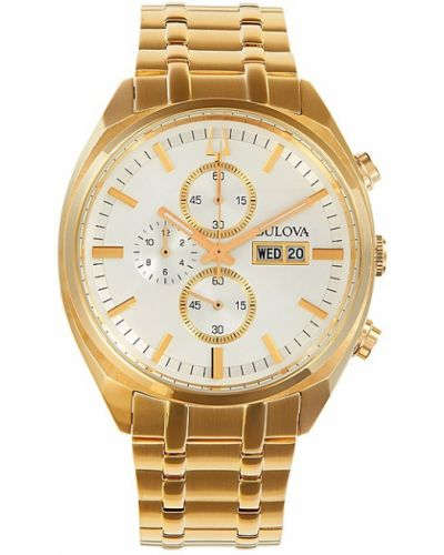 Biały zegarek kwarcowy srebrny kwarc Bulova