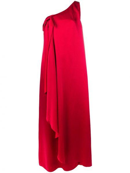 Шелковое платье макси на одно плечо с драпировкой для полных Valentino