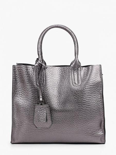 Серебряная кожаная сумка из натуральной кожи снежная королева