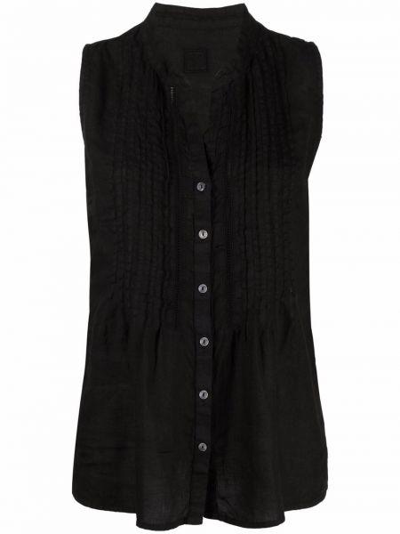 Черная рубашка с воротником-стойка на пуговицах 120% Lino