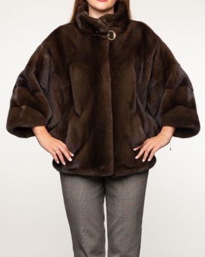 Коричневая куртка вельветовая с воротником Aliance Fur