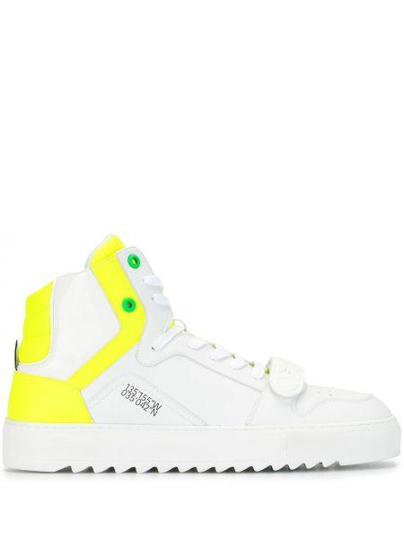 Zielony wysoki sneakersy koronkowy sznurowany F_wd