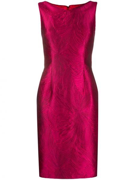 Шелковое розовое платье без рукавов узкого кроя Talbot Runhof