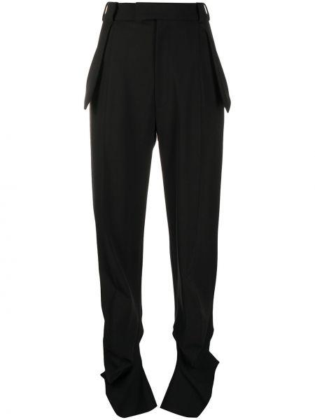 Деловые шерстяные черные брюки Ssheena