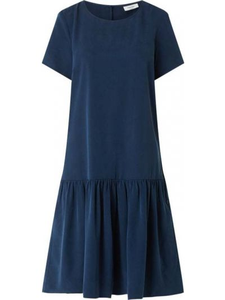 Sukienka rozkloszowana z falbanami - niebieska Marc O'polo Denim