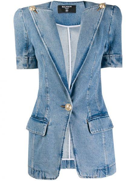 Синяя джинсовая куртка винтажная с короткими рукавами Balmain