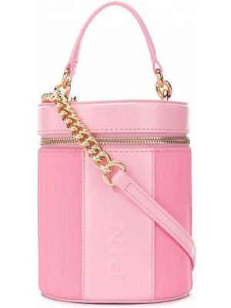 Skórzana torebka z łatami różowa Pinko