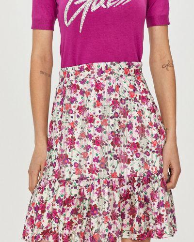 Różowa spódnica mini rozkloszowana materiałowa Guess