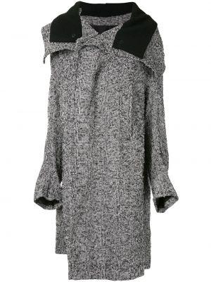 Серое шерстяное длинное пальто оверсайз Y`s