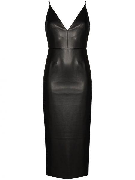 Черное приталенное кожаное платье Aleksandre Akhalkatsishvili