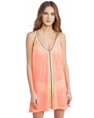 Трикотажное платье мини без рукавов с вышивкой Pitusa