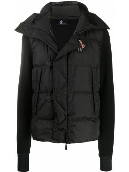 Czarna kurtka z kapturem wełniana Moncler Grenoble