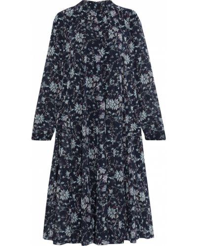 Плиссированное синее платье миди с подкладкой Mikael Aghal
