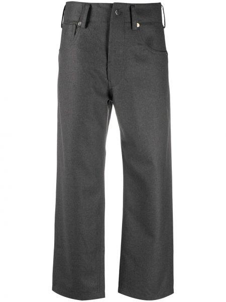 Шерстяные серые укороченные брюки с карманами с высокой посадкой Sofie D'hoore