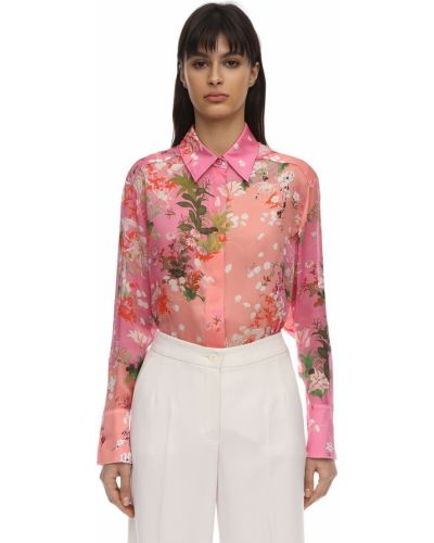 Klasyczna różowa klasyczna koszula z jedwabiu Givenchy