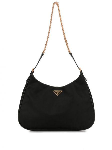 Золотистая черная нейлоновая сумка на цепочке с карманами Prada Pre-owned