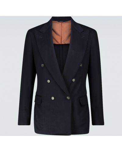 Кашемировый синий пиджак с подкладкой с лацканами Loro Piana