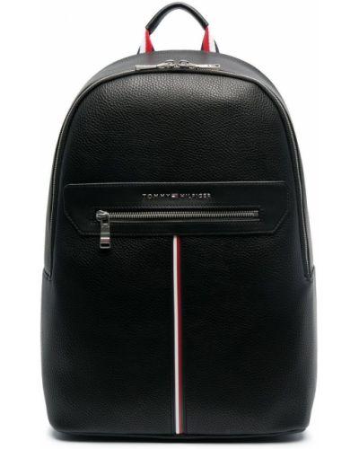 Czarny plecak srebrny z printem Tommy Hilfiger