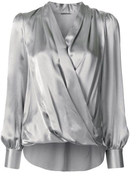Bluzka z długimi rękawami kopertowa z jedwabiu Elie Tahari