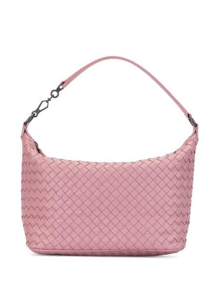 Кожаная розовая сумка на плечо на молнии с подкладкой Bottega Veneta Pre-owned