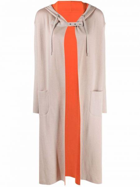 Z kaszmiru beżowy długi płaszcz z kapturem Maison Ullens
