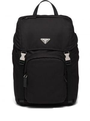 Czarny plecak skórzany z siateczką Prada