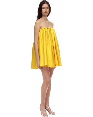 Плиссированное платье мини с декольте на резинке Sara Battaglia