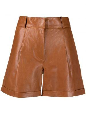 Коричневые с завышенной талией кожаные шорты Arma
