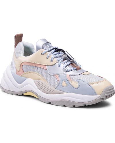 Buty sportowe skorzane - żółte Geox
