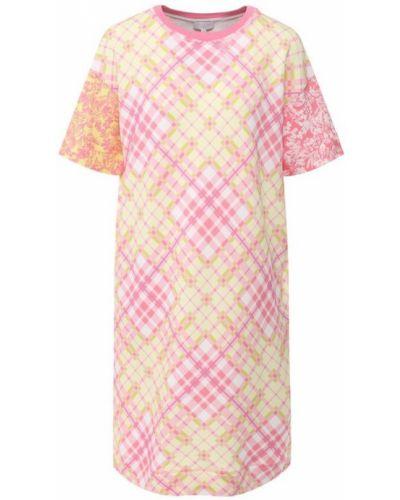 Платье мини розовое с цветочным принтом Escada Sport