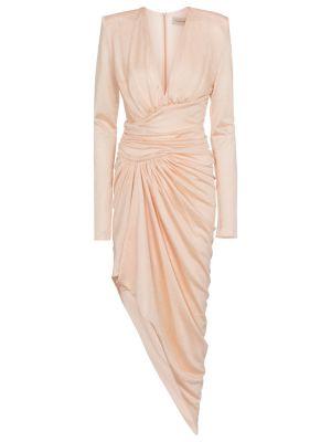 Różowa sukienka midi z wiskozy Alexandre Vauthier