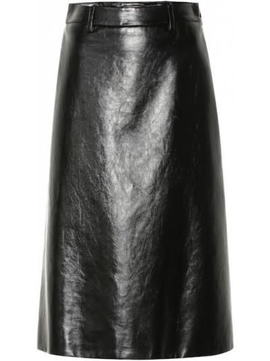 Кожаная юбка миди - черная Prada
