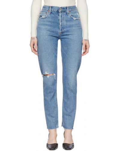 Srebro klasyczny jeansy z mankietami w połowie kolana rozciągać Agolde