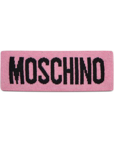 Różowa z kaszmiru czapka Moschino