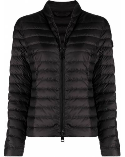 Пуховая черная длинная куртка с воротником Peuterey