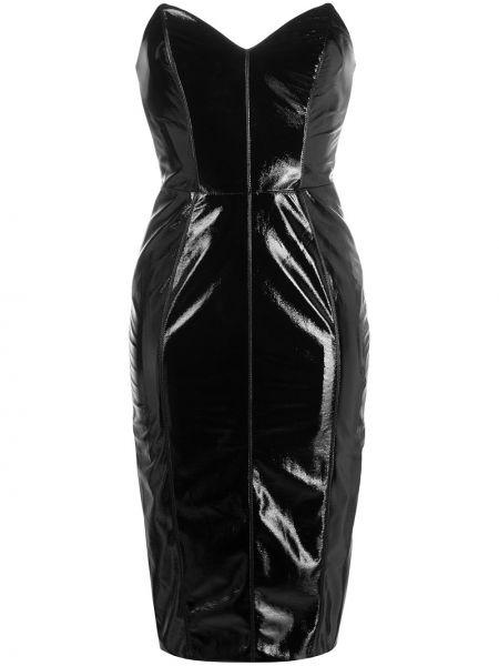 Черное приталенное платье миди с V-образным вырезом без бретелек Elisabetta Franchi