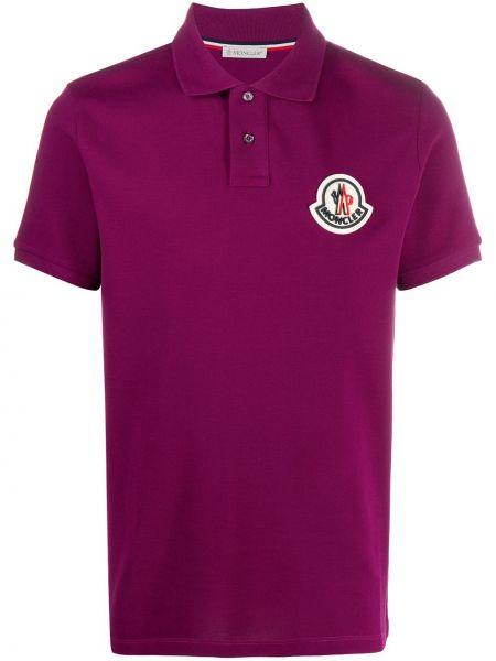 Bawełna fioletowy koszula z krótkim rękawem z kołnierzem z łatami Moncler