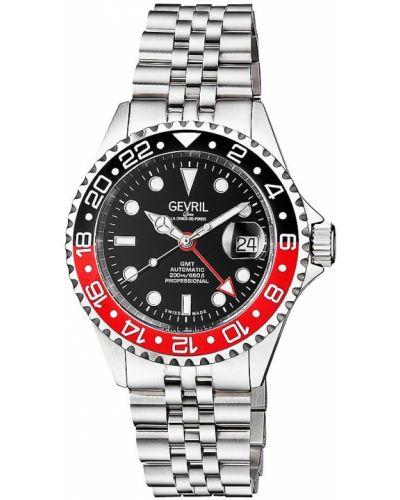 Czarny zegarek sportowy srebrny z klamrą Gevril