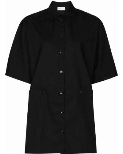 Ватная хлопковая с рукавами черная рубашка с коротким рукавом Rosetta Getty