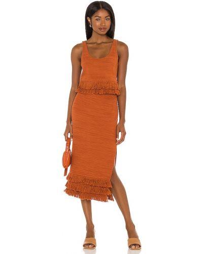 Pomarańczowa sukienka midi bawełniana Saylor