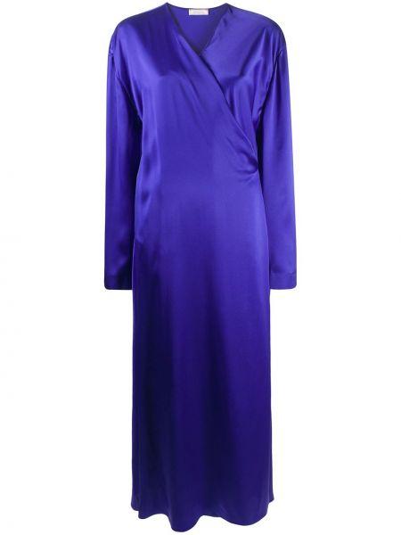 Синее платье макси с запахом с V-образным вырезом с драпировкой Nina Ricci