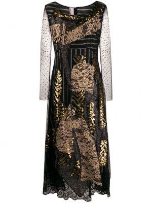 Czarna sukienka midi rozkloszowana koronkowa Antonio Marras