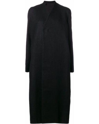 Прямое шерстяное черное длинное пальто Rick Owens